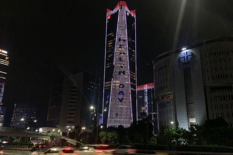 Animasi lampu Gedung Telkom Gatot Subroto menyambut Hari Kesehatan Dunia 7 April