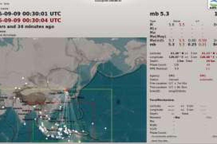 Hasil pengukuran BMKG atas ledakan di Korea Utara pada 9 September 2016.