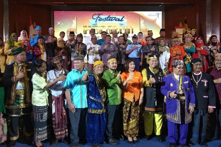 Launching Festival Keraton Nusantara ke 5, yang diadakan di Gedung Sapta Pesona Kementerian Pariwisata, Jakarta, Selasa (20/2/2018).