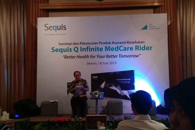 Pemaparan Kinerja Keuangan Sequis Life tahun 2018 dan kuartal I-2019 oleh Tatang Widjaja di Jakarta, Selasa (18/6/2019)