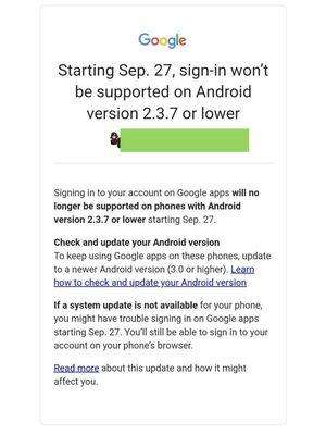 E-mail Google terkait kebijakan perusahaan soal ponsel dengan Android lawas.