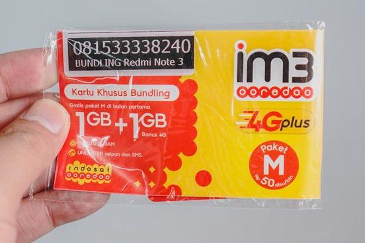 Kartu perdana IM3 dari Indosat Ooredoo untuk bundling dengan smartphone Xiaomi Redmi Note 3