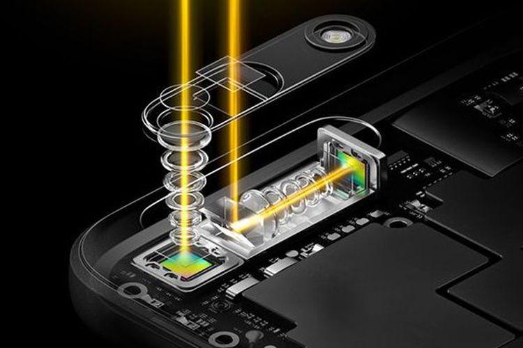 Ilustrasi teknologi kamera periskop Oppo dengan rentang zoom 5x.