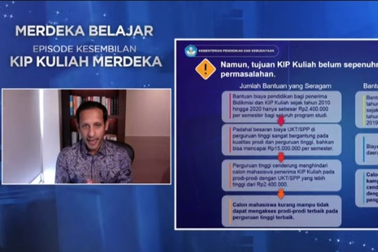 Mendikbud Nadiem Makarim berbicara terkait KIP Kuliah 2021