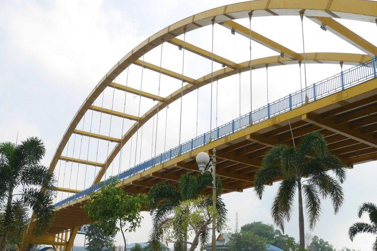 Jembatan Siak 2 di Kampung Bandar, Kecamatan Senapelan, Kota Pekanbaru, Riau, Jumat (9/3/2018).