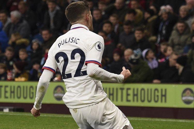 Christian Pulisic merayakan golnya pada pertandingan Burnley vs Chelsea dalam lanjutan Liga Inggris di Stadion Turf Moor, 26 Oktober 2019.