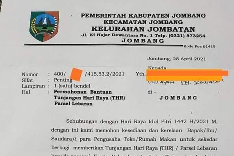 Tangkapan layar surat permintaan bantuan THR/parsel dari salah satu kelurahan di Kabupaten Jombang, Jawa Timur. Surat itu beredar di media sosial dan WhatsApp, Kamis (29/4/2021) malam.