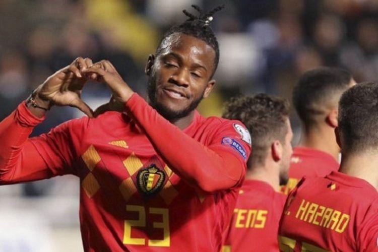 Gaya Michy Batshuayi merayakan gol pada laga Siprus vs Belgia di Stadion GSP dalam babak kualifikasi Piala Eropa 2020, 24 Maret 2019.