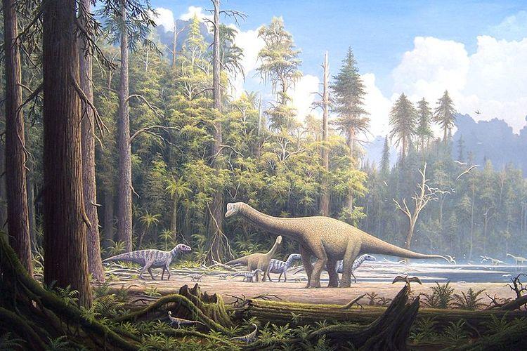 Ilustrasi kehidupan bumi di zaman mesozoik. Dinosaurus mendominasi kehidupan pada masa itu.