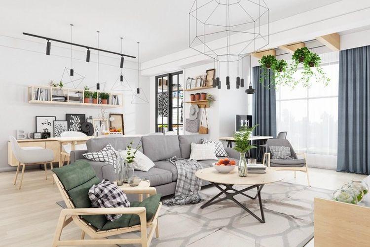 Ilustrasi desain ruang tamu bergaya Skandinavia.