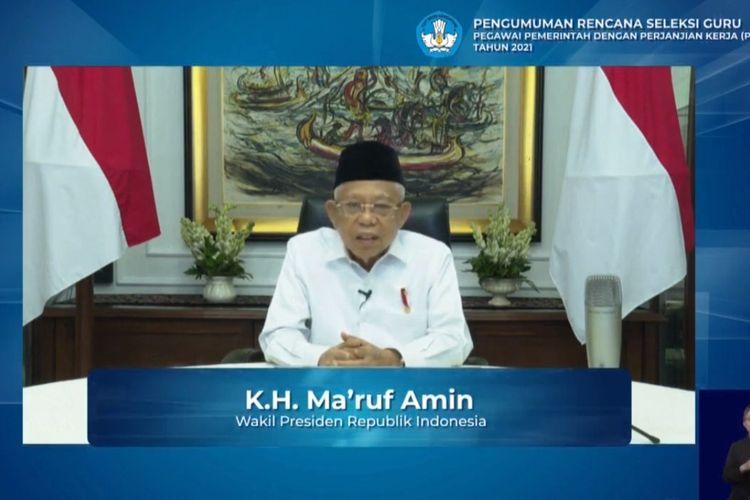 Wakil Presiden RI KH Maruf Amin dalam konferensi daring Pengumuman Seleksi Guru PPPK Tahun 2021, Senin (23/11/2020).