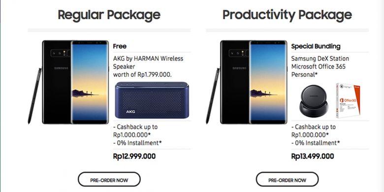 Dua paket Galaxy Note 8 yang ditawarkan Samsung Indonesia dalam masa pre-order.