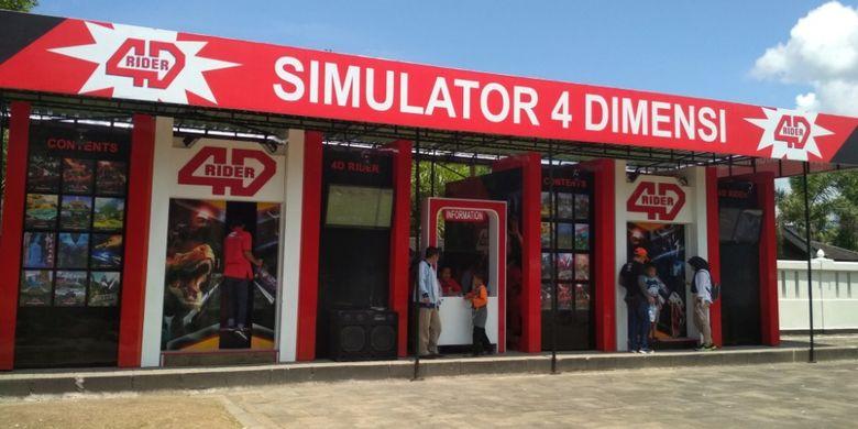 Simulator bioskop 4 Dimensi (4D) di komplek Taman Wisata Candi Borobudur, Magelang, Jawa Tengah, pada libur Natal 2017.