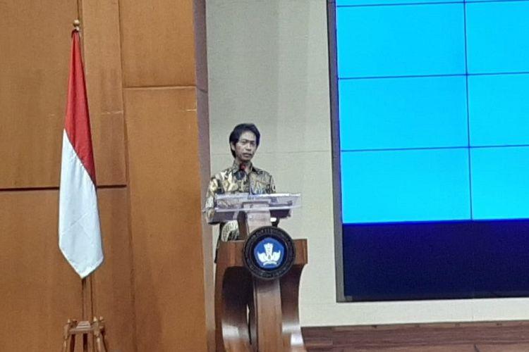 Kepala Badan Penelitian dan Pengembangan Kemendikbud Totok Suprayitno dalam simposium internasional tentang pendidikan di Gedung Kemendikbud, Jakarta, Selasa (3/9/2019).