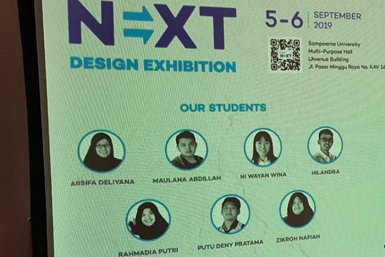 Next Design Exhibition yang memamerkan tugas akhir tujuh mahasiswa angkatan pertama Program Studi Desain Komunikasi Visual Sampoerna University.