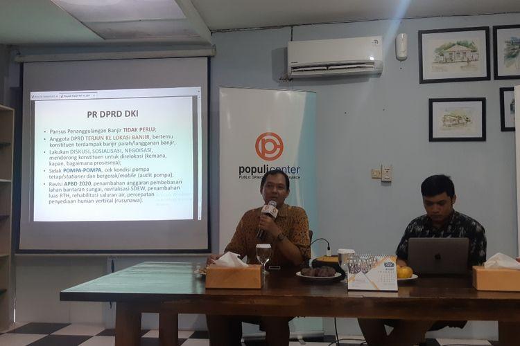 Rilis survei Populi Center di Jalan Letjen S Parman, Slipi, Jakarta Barat, Kamis (15/1/2020)