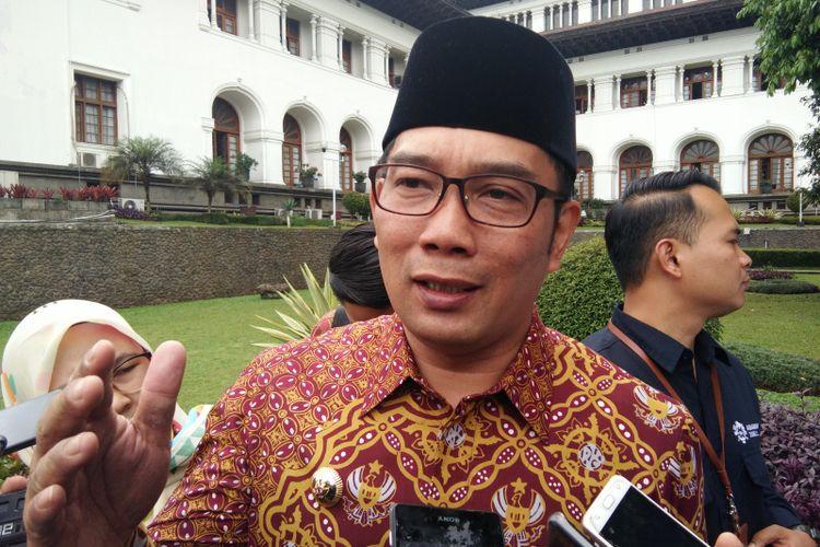 Gubernur Jawa Barat Ridwan Kamil saat ditemui wartawan di Gedung Sate, Jalan Diponegoro, Selasa (19/3/2019).