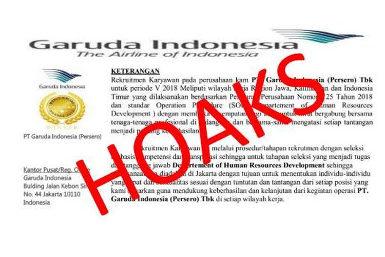 Beredar di aplikasi pesan WhatsApp mengenai undangan penerimaan rekrutmen calon karyawan PT Garuda Indonesia (Persero), pihak Garuda Indonesia pastikan hoaks.