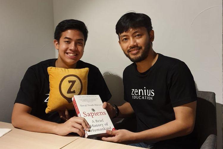 Jerome Polin (kiri) bersama Co-Founder dan CEO Zenius Education Sabda Putra Subekti (kanan).