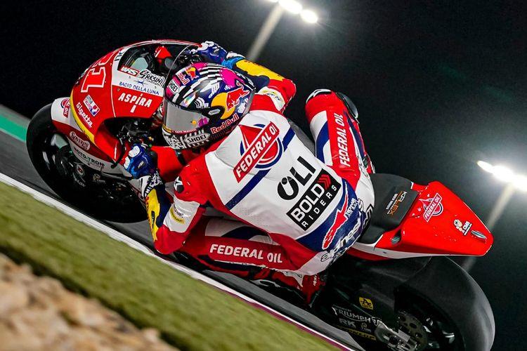 Fabio Di Giannantonio saat balapan di GP Qatar pada Moto2 2021