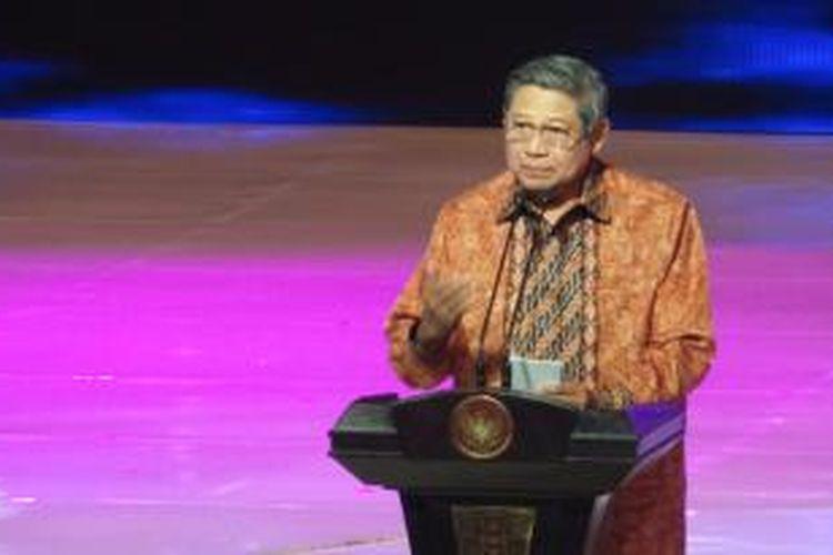 Presiden Susilo Bambang Yudhoyono dalam peluncuran Rajawali TV di Jakarta, Sabtu (3/5/2014).