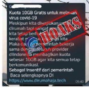 Hoaks terkait kuota 10 GB gratis beredar di WhatsApp