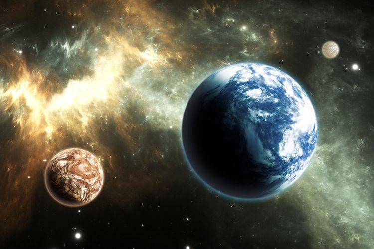 Ilustrasi exoplanet mirip planet Bumi yang dapat dihuni.