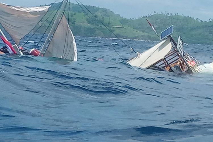 Kapal yang ditumpangi rombongan presiden tenggelam di Labuan Bajo, Selasa (21/1/2020).