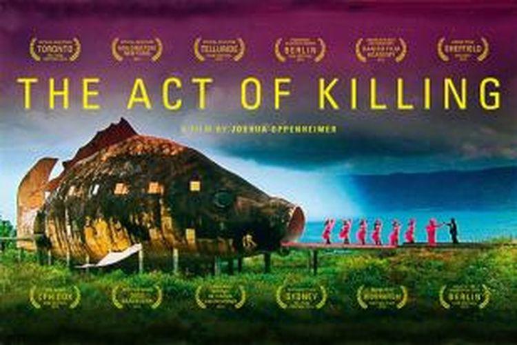 Poster film the Act of Killing yang bercerita tentang pembunuhan massal di Indonesia tahun 1960-an.