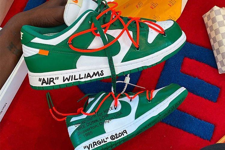 Virgil Abloh berbagi gambar dari kreasi terbarunya itu. Ada sejumlah sentuhan khas Abloh pada sepatu klasik dengan dominasi warna hijau-putih tersebut.