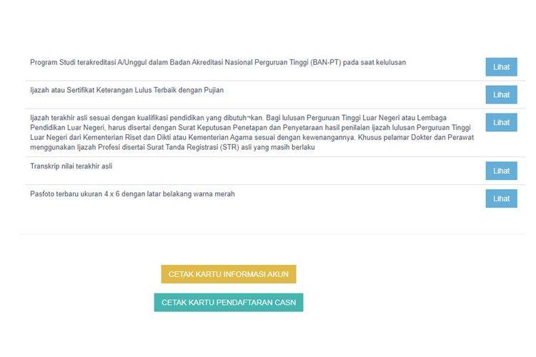 Tangkapan layar halaman resume pendaftaran CPNS
