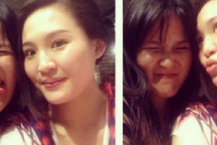 Jessica Wongso dan Mirna Salihin berpose dalam sebuah ?photo booth?.
