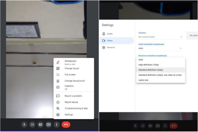 Cara mengatur resolusi video Google Meet di PC untuk menghemat penggunaan kuota internet selama meeting berlangsung.