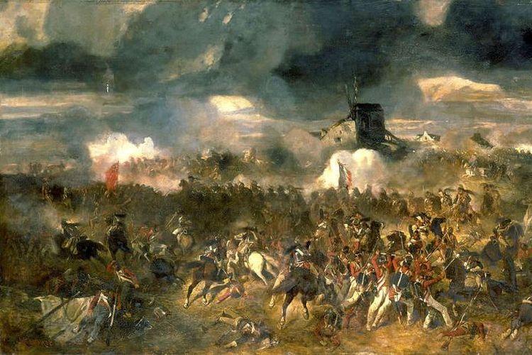 Pertempuran Waterloo 1815 menurut pelukis Perancis Clément-Auguste Andrieux.