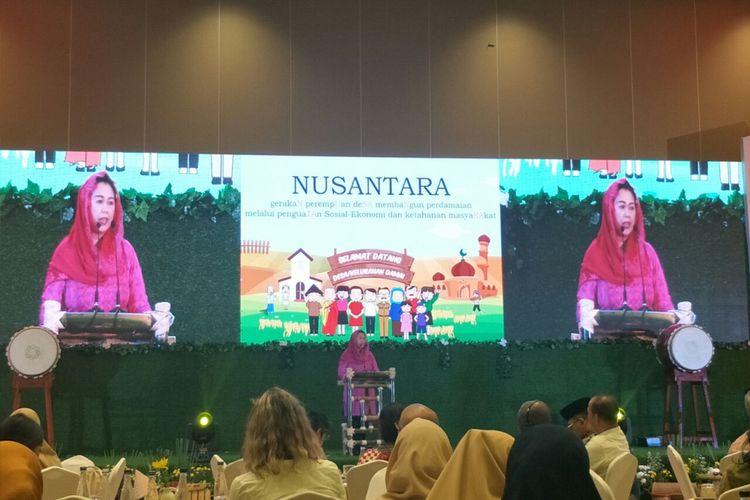 Direktur Wahid Foundation, Yenny Wahid, dalam peluncuran buku indikator desa damai di Hotel Sultan, Jumat (8/2/2019).