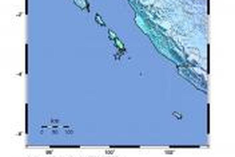 Pusat gempa di Kepulauan Mentawai (tanda bintang).
