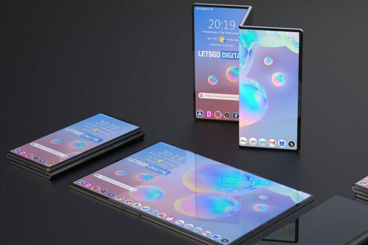 Mock-up tidak resmi ponsel lipat Samsung yang bisa dilipat beberapa kali