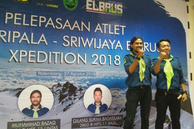 Muhammad Razaq dan M Gilang Sukma Bagaskara yang akan menjejakan kaki kepuncak Elbrus, Rusia, Senin (27/8/2018)