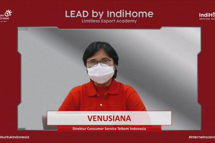 Direktur Consumer Service Telkom Venusiana saat acara Press Conference and Peluncuran LEAD By IndiHome secara daring pada Jumat, (10/9/2021).