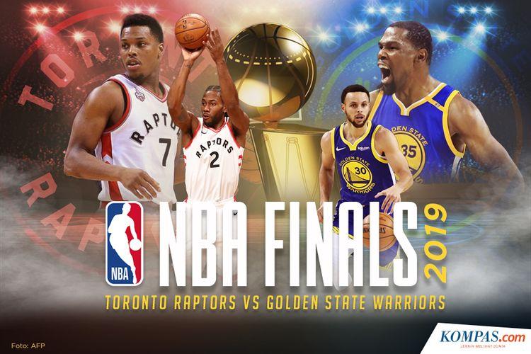 Ilustrasi Final NBA 2019, Toronto Raptors vs Golden State Warriors