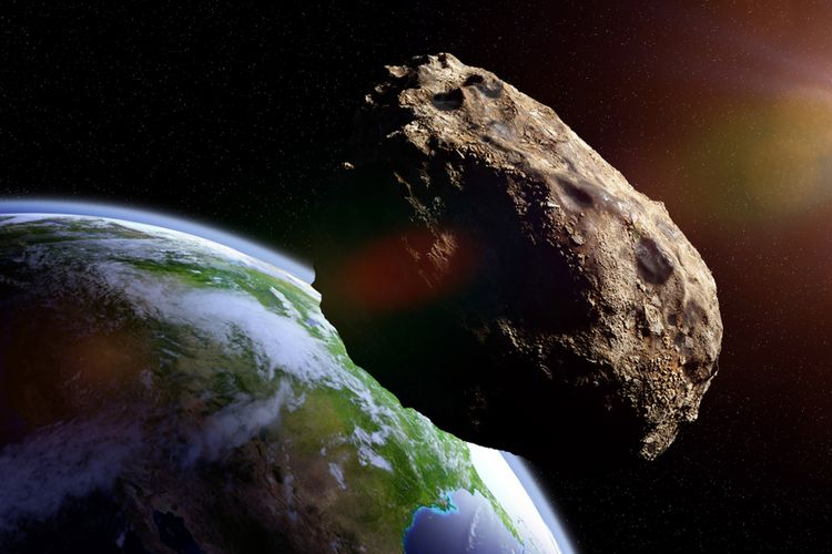 Ilustrasi asteroid menuju Bumi
