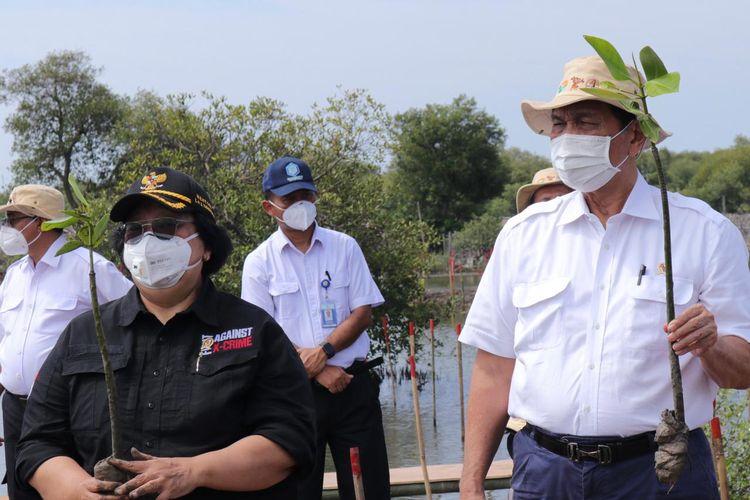 Menko Marves Luhut Binsar Pandjaitan didampingi Menteri LHK Siti Nurbaya tengah melakukan penanaman tanaman mangrove di Desa Tanjung Pasir, Tangerang, Banten, Rabu (3/3/2021).
