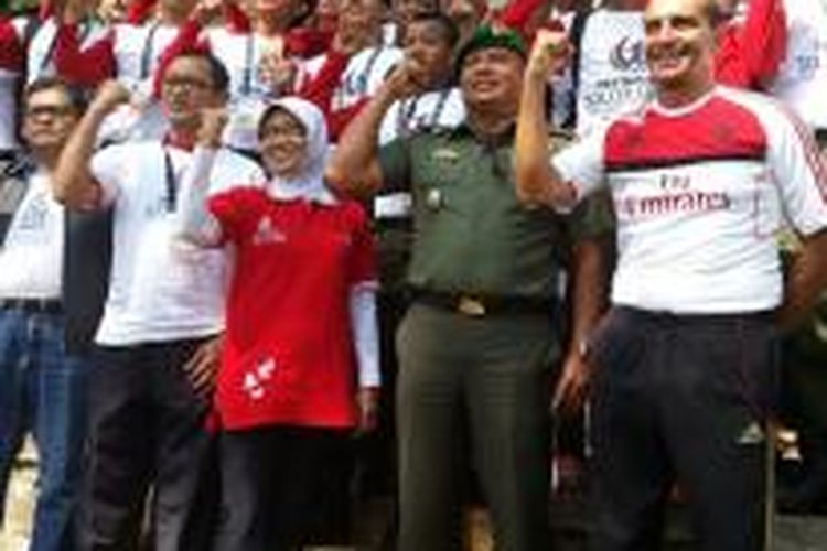 Pertamina Soccer Camp di Pusat Pelatihan dan Pendidikan Infanteri, Cipatat, Bandung, Selasa (10/9/2013).