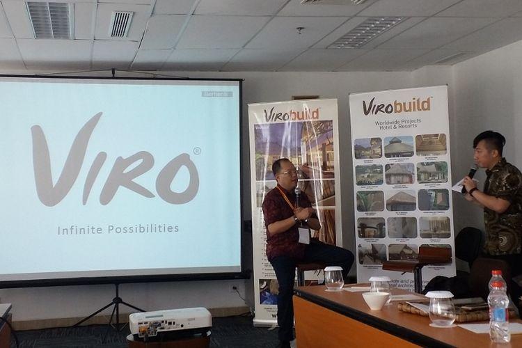 Johan Yang (kiri), Executive Vice President PT Polymindo Permata selaku produsen Viro, dalam diskusi bersama media, Kamis (3/5/2018) di Hotel Santika ICE BSD.
