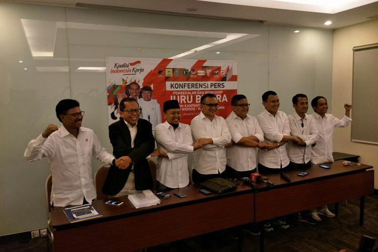 Sekjen-sekjen partai Koalisi Indonesia Kerja menggelar konferensi pers usai melatih juru kampanye