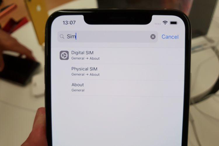 Menu Setting e-SIM di iPhone XS.
