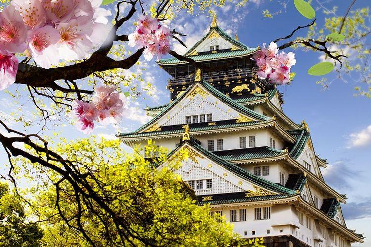 Ilustrasi Jepang - Osaka Castle.