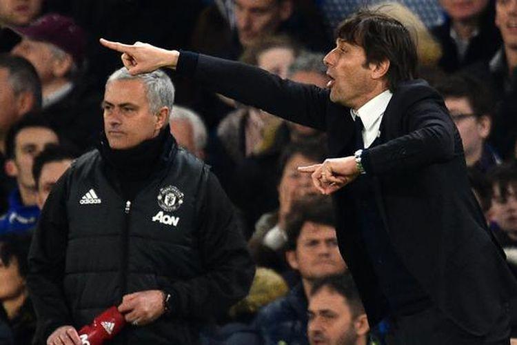Jose Mourinho dn Antonio Conte, Sabtu (4/5/2019)