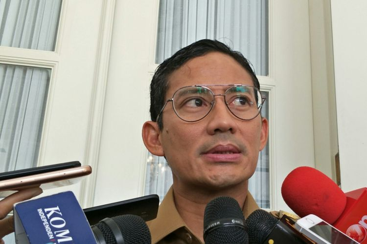 Wakil Gubernur DKI Jakarta Sandiaga Uno di Balai Kota DKI Jakarta, Jalan Medan Merdeka Selatan, Senin (18/12/2017).