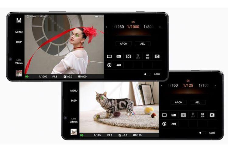 Antarmuka mode kamera Pro pada Xperia 1 II